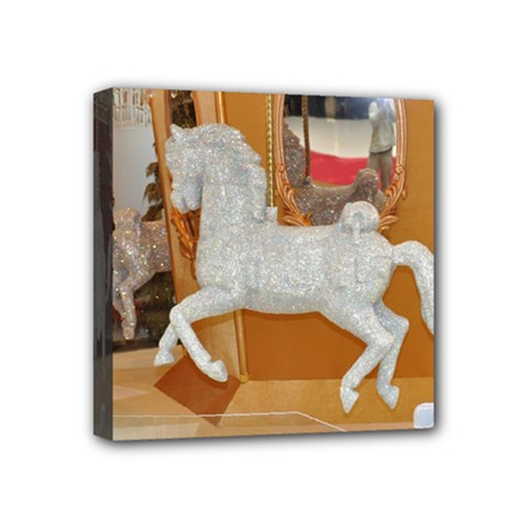 White Horse Mini Canvas 4  X 4  (stretched)
