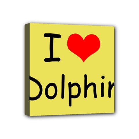 I Love Dolphin 4  x 4  Framed Canvas Print