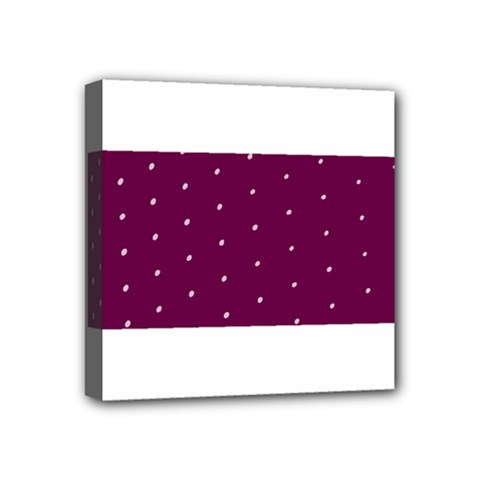 Purple White Dots Mini Canvas 4  X 4  (stretched)