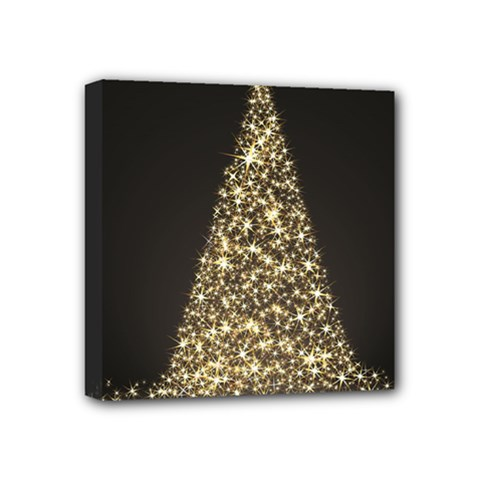 Christmas Tree Sparkle Jpg 4  X 4  Framed Canvas Print