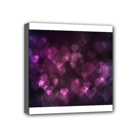 Purple Bokeh 4  x 4  Framed Canvas Print