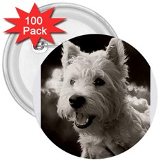 Westie Puppy 100 Pack Large Button (round)