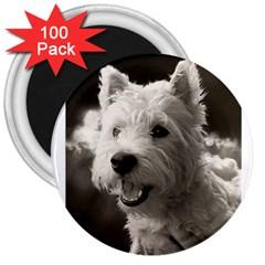 Westie Puppy 100 Pack Large Magnet (round)