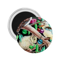 Christmas Kooka Twins  Regular Magnet (round)