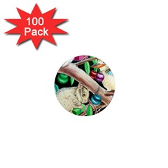 Christmas Kooka Twins  100 Pack Mini Magnet (round)