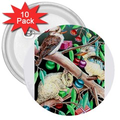 Christmas Kooka Twins  10 Pack Large Button (Round)