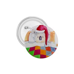 Santa In Bed  Small Button (Round)