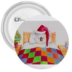 Santa In Bed  Large Button (Round)