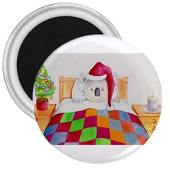 Santa In Bed  Large Magnet (Round)