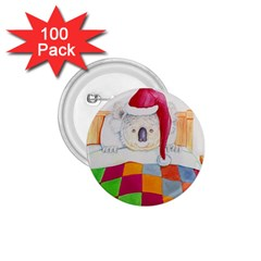 Santa In Bed  100 Pack Small Button (Round)