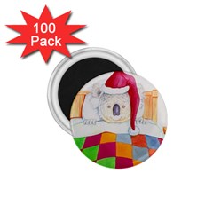 Santa In Bed  100 Pack Small Magnet (Round)