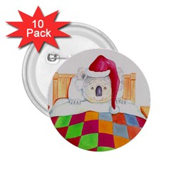 Santa In Bed  10 Pack Regular Button (Round)