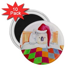 Santa In Bed  10 Pack Regular Magnet (Round)