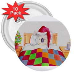 Santa In Bed  10 Pack Large Button (Round)