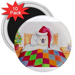 Santa In Bed  10 Pack Large Magnet (Round)