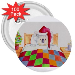 Santa In Bed  100 Pack Large Button (Round)