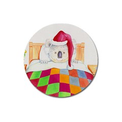 Santa In Bed  Large Sticker Magnet (Round)