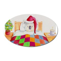 Santa In Bed  Large Sticker Magnet (Oval)