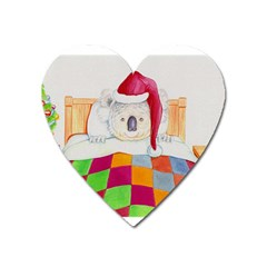 Santa In Bed  Large Sticker Magnet (heart)