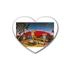 Uluru  4 Pack Rubber Drinks Coaster (Heart)