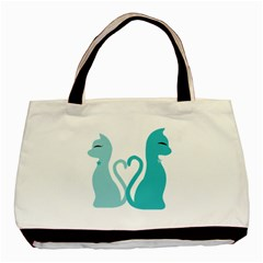 Pure Love   Cat Twin Sided Black Tote Bag