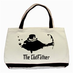 The Codfather Twin Sided Black Tote Bag