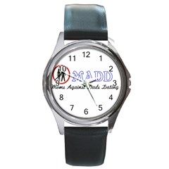 Madd Black Leather Watch (round)