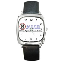 Madd Black Leather Watch (Square)