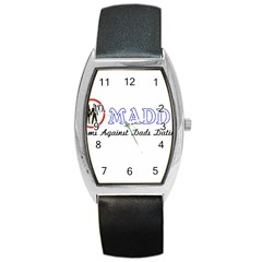 Madd Black Leather Watch (tonneau)