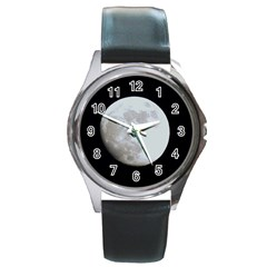 Moon Black Leather Watch (round)