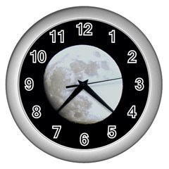 Moon Silver Wall Clock