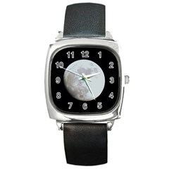 Moon Black Leather Watch (Square)