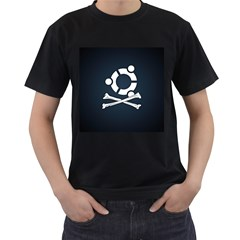 Ubuntu Bone Twin Sided Black Mens'' T Shirt
