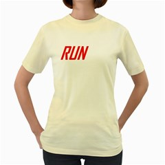 Run Yellow Womens T Shirt   Double Sided Print