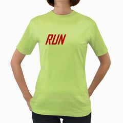 RUN Green Womens T-shirt - Double-sided Print