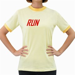 RUN Colored Ringer Womens T-shirt - Double-sided Print