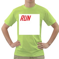 RUN Green Mens T-shirt - Double-sided Print
