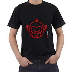 FunkyMonkey Red Outline  Black  T-shirt