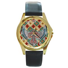South West Leather Look Black Leather Gold Rim Watch (Round)