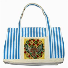 South West Leather Look Blue Striped Tote Bag