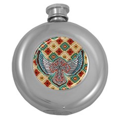South West Leather Look Hip Flask (Round)