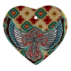 South West Leather Look Heart Ornament (Two Sides)