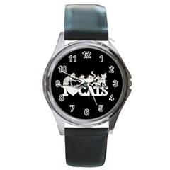 Catz Black Leather Watch (Round)