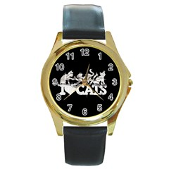 Catz Black Leather Gold Rim Watch (Round)