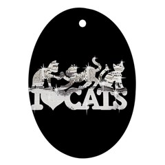 Catz Oval Ornament (Two Sides)