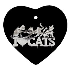 Catz Heart Ornament (two Sides)