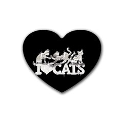 Catz 4 Pack Rubber Drinks Coaster (Heart)