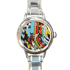 Multi-Colored Beaded Background Classic Elegant Ladies Watch (Round)