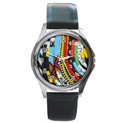 Multi-Colored Beaded Background Black Leather Watch (Round)