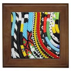 Multi Colored Beaded Background Framed Ceramic Tile